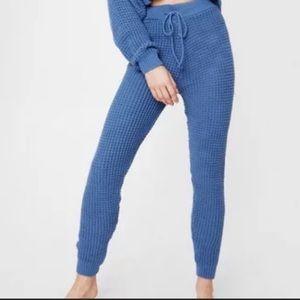 Nasty Gal High Waisted Knit Pant Blue Lounge